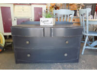 Painted dark grey shabby chic vintage chest of drawers