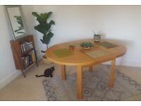 Striking wood dining table
