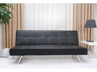 - 14 DAYS MONEY BACK GUARANTEE - LEATHER / FABRIC - 3 SEATER SOFA BED WITH CHROME LEGS - BRAND NEW