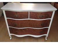 SHABBY CHIC ANTIQUE/VINTAGE CHEST OF DRAWERS A C NORQUIST SERPENTINE SHAPE