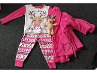 Girls Christmas pjs and dressing gown with reindeer teddy