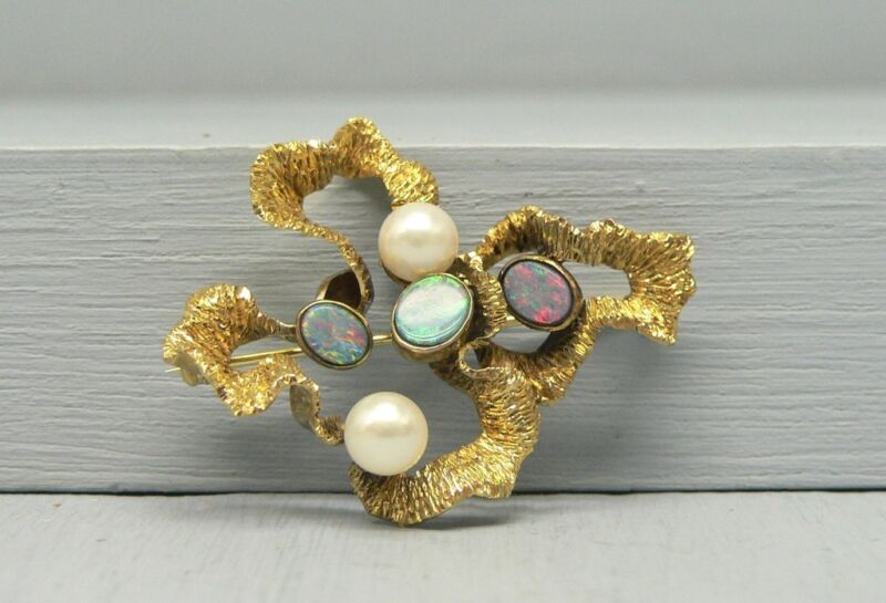 Cool Unusual 14K Gold Black Opal Pin with Gorgeous Colorful Opals & Pearls
