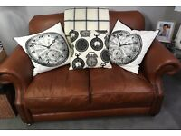 SOFA - BROWN LEATHER 2 SEATER WITH STUDDED ARMS