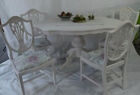 French Style Dining Table & 4 Wooden Chairs with Laura Ashley Fabric