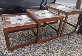 Nest of 3 tables, tiled tops