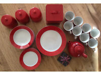 36 piece red and white dinner set like new with extras