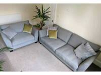 Grey fabric 3 seater sofa and large snuggle armchair