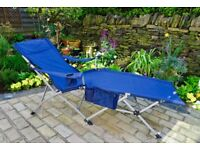 Folding Lounger with Carry Bag (Blue)