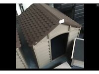 BRAND NEW LARGE DOG KENNEL WITH FLOOR, PLASTIC SNAP LOCK DESIGN REALLY NICE.