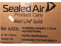500 sealed air gold bubbled wrap inside jiffy bags envelopes size A/000 110x160mm