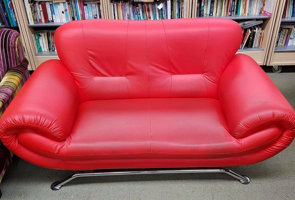 Used stylish nina 2 seater Red sofa faux leather, steel chrome legs ...