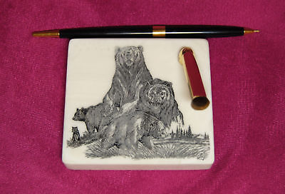 Bear Family Etched Montana Marble Desk Pen Holder Set