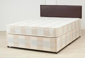 **Upto 65% Off** New Double or King Divan Bed Base w Dual-Sided 9inch Semi Ortho Deep Quilt Mattress