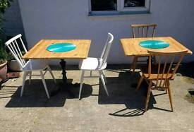 2 Cast Iron & Pine Dining Cafe Tables Delivery Available
