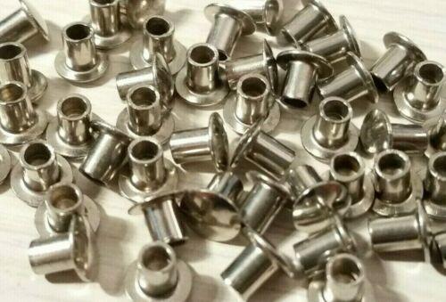 "200 Nickel Plated 1/8"" x 5/32"" Oval Round Head Semi Tubular Hollow Rivets"