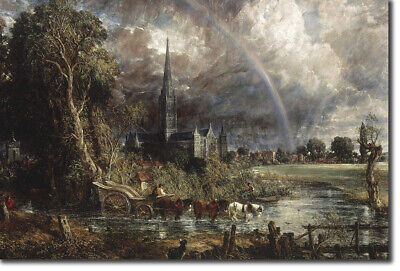 John Constable - Salisbury Cathedral from the Meadows Art Print Painting (John Constable Salisbury Cathedral From The Meadows)