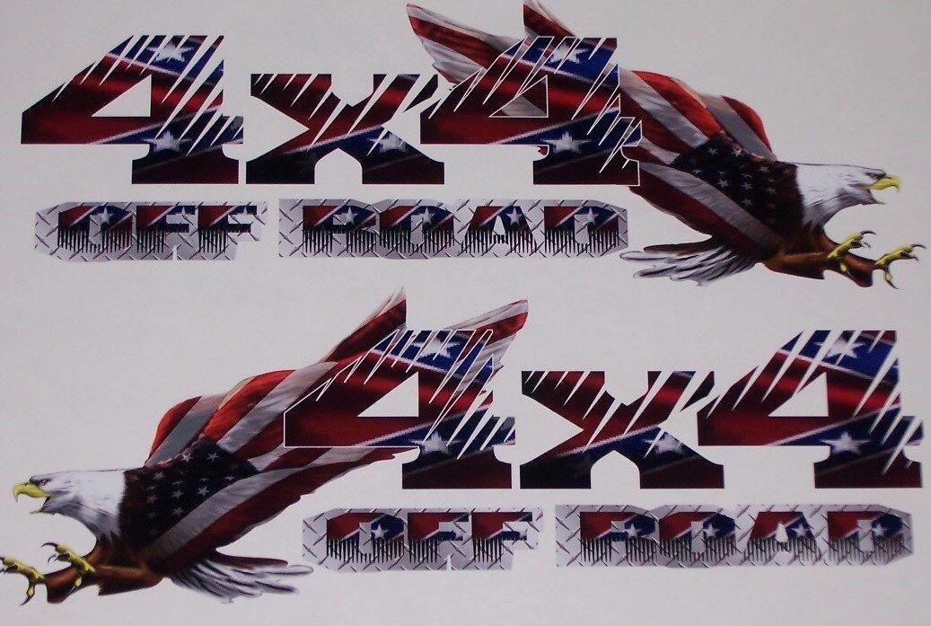 4x4 Off Road American Flag Eagle #2 PAIR Chevy Power 2500 3500 F250 F150 Wagon