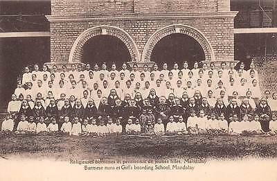 MANDALAY, BURMA - MYNMAR, NUNS & CLASS AT GIRL'S BOARDING SCHOOL, c. 1904-14