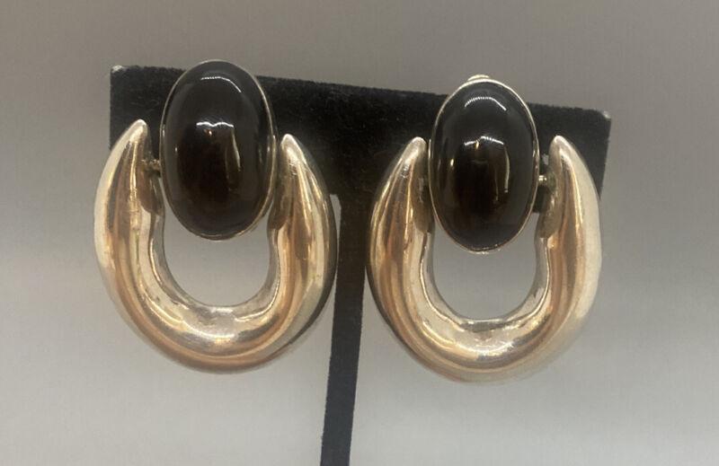 Zina Beverly Hills Sterling Silver Black Onyx Cabochon DoorKnocker Clip Earrings