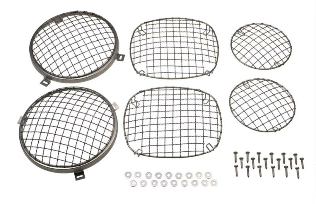 Wire Mesh Guard Set 6 pc Polished Stainless for Jeep CJ