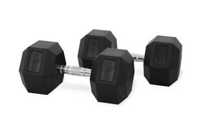 YORK Rubber Hex Dumbbells. 65kg - 2 x 32.5kg - Gym Fitness free Weights heavy.