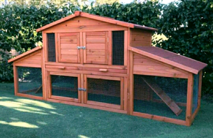♥NEW BELLA CHICKEN COOP RABBIT HUTCH DELUX LIVING 2 living areas