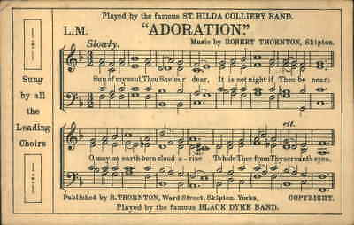 ANTIQUE MILITARY ARMY  POSTCARD ST HILDA COLLIERY BAND ADORATION