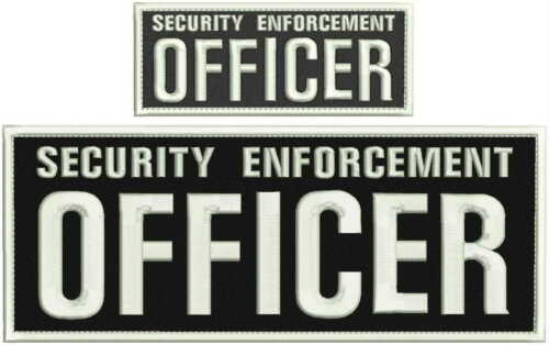 Security enforcement officer embroidery patch 4X10 and 2x5 hook white.