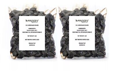 Moroccan Oil Cured Black Olives - Pack of 2 - In Air Vacuumed Packs - New !عيتون