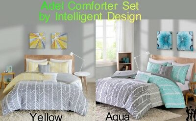 Adel Comforter Set by Intelligent Design in Aqua or Yellow color