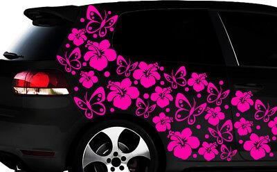 108 piezas kit pegatinas de coches Flores del Hibisco mariposas Hawai