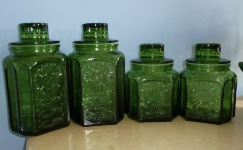 SET 4 VTG WHEATON, NJ  FOREST GREEN GLASS CANISTERS SUNFLOWER PATTERN WITH LIDS
