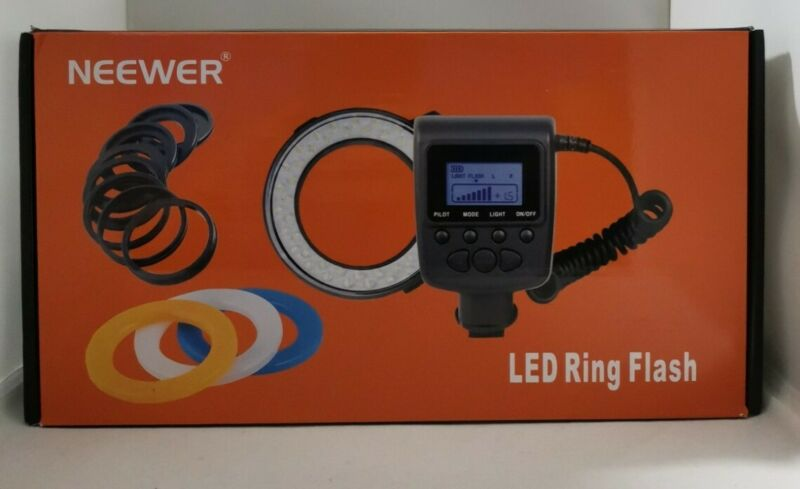 Neewer 48 Macro LED Ring Flash Bundle with Adapter Rings and Flash Diffusers