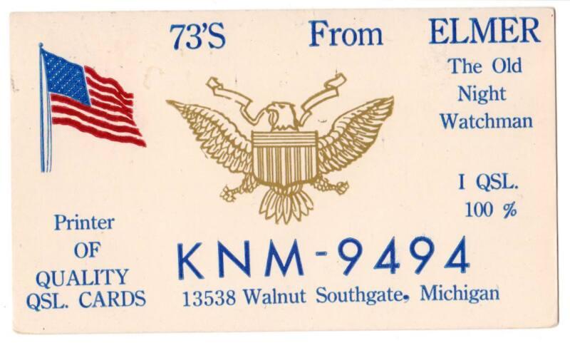 CB Radio QSL Card Elmer (The Night Watchman) Southgate, MI flag eagle KNM-9494