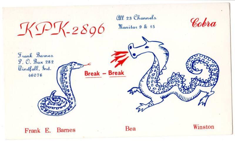 cb Radio QSL Card Frank Barnes Windfall, IN Cobra Snake Dragon KPK-2896