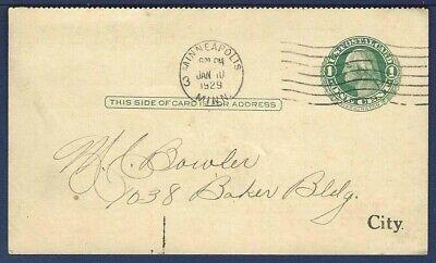 US Postal Message Card UY7m Washington 1 Green From Minneapolis MN 1929 - $4.00