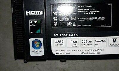 Acer Aspire AX1200-B1581A 2.5GHz 500GB Tower Computer 4GB DDR2 4850 AMD VISTA