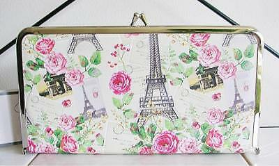 SHABBY Shanty CHIC PINK ROSES JEWELRY BOX HARD TRAVEL CASE PARIS DESIGN NEW