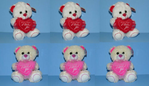 "6x Valentine 7"" Stuffed Animal Plush Teddy Bear I LOVE YOU Heart - WHOLESALE"
