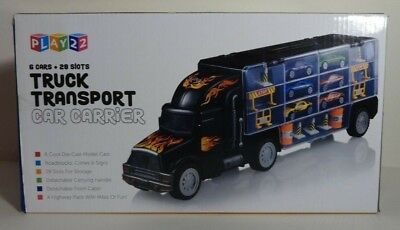 PLAY 22 TRUCK TRANSPORT CAR CARRIER 28 SLOTS 6 DIE-CAST CARS & ACCESSORIES- NEW!