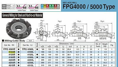 Sumitomo Dia 100mm Indexable Milling Cutter For Face Milling Fpg100r