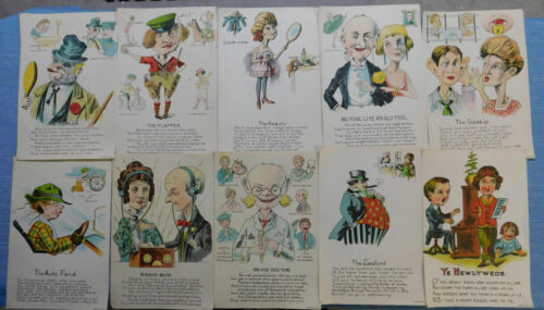 10 Different Vintage Vinegar valentines..Very colorful...Nice Condition