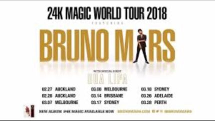 2x Bruno Mars Sydney Concert 23 March 2018 B reserve tickets