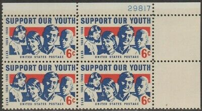 Scott# 1342 - 1968 Commemoratives - 6 cents Support Our Youth Plate Block (B) ()