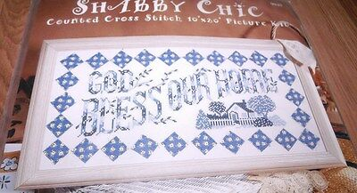 """Design Works Shabby Chic GOD BLESS OUR HOME Hard to Find 10"""" x  20"""""""
