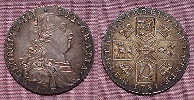 1787 KING GEORGE III SHILLING - Top Grade - No Hearts