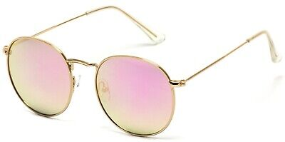 Wear Me Pro Retro Round Polarized Sunglasses - Gold Frame/Pink Lens ()