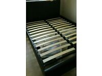 Black brown faux leather double bed with mattress