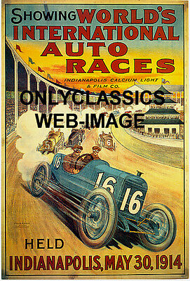 INDIANAPOLIS MOTOR SPEEDWAY ART DECO AUTO RACING POSTER INDY 500 LITHO GRAPHICS