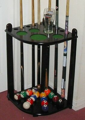 CORNER MAHOGANY WOOD 10 SNOOKER POOL CUE RACK HIGH QUALITY STICK STAND BALL REST